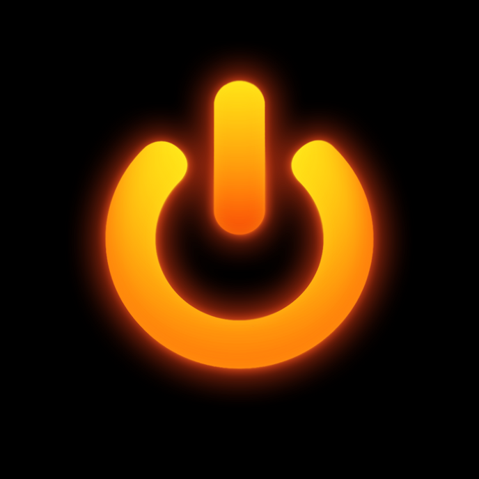 "The ""STANDBY"" project artwork: a red, glowing power symbol centred on a black background"